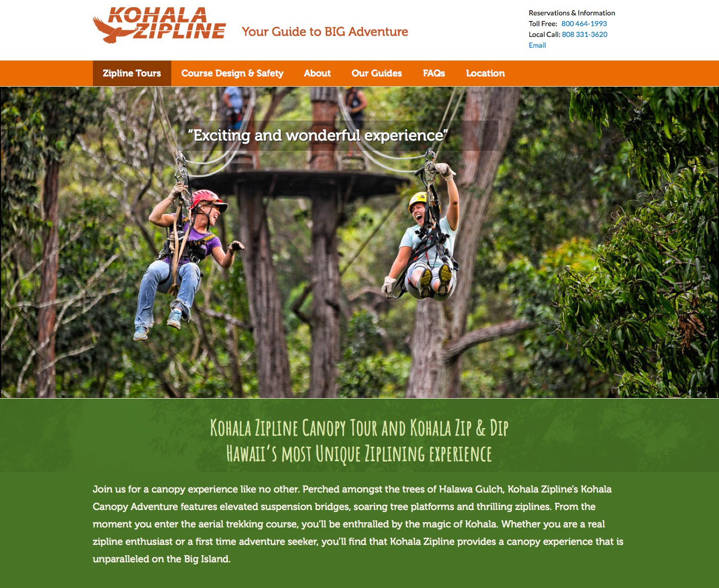 Kohala Zipline Website Wins Award!