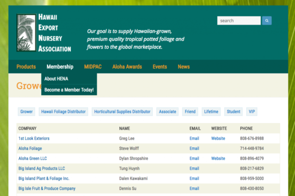 Hawai'i Export Nursery Association – Directory/Membership Website