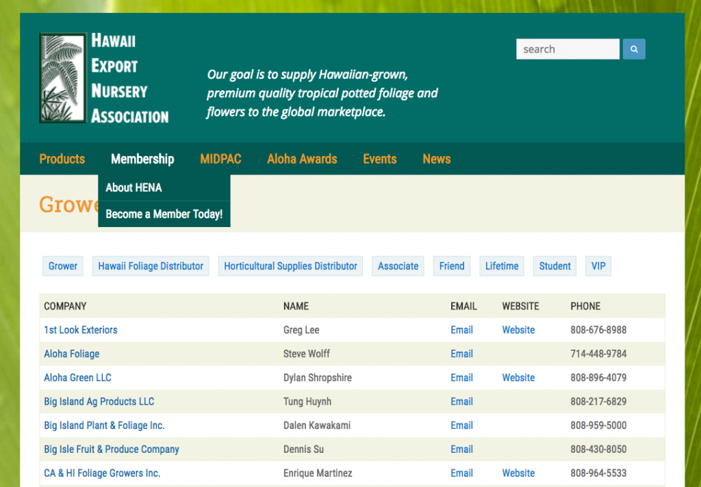 Hawaii Export Nursery Association – Directory/Membership Website
