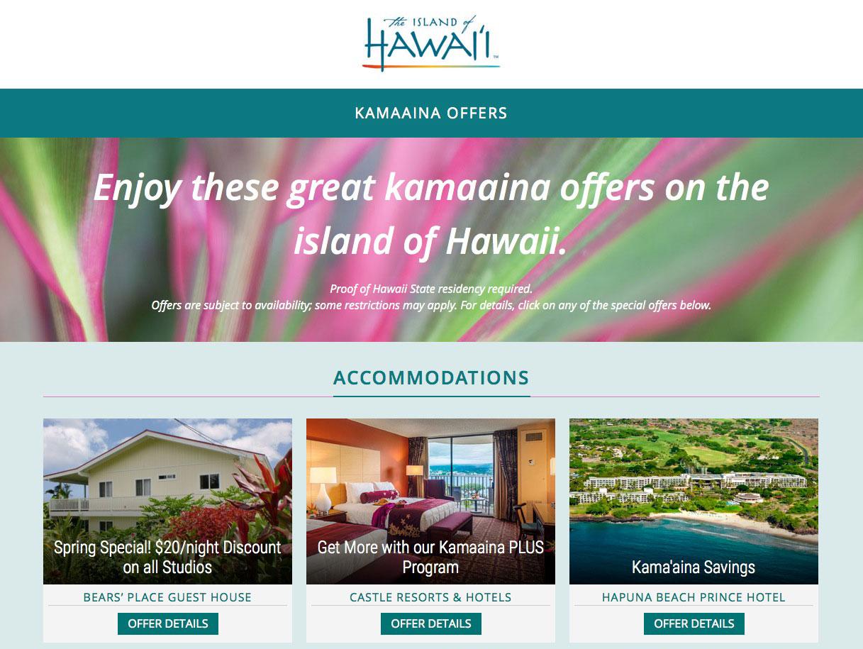 Kama'aina Offers By Island Of Hawai'i Visitor's Bureau