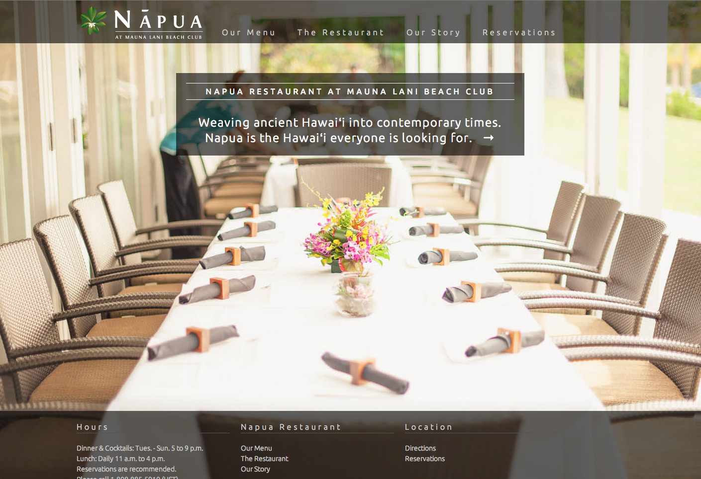 Napua Restaurant At Mauna Lani Resort